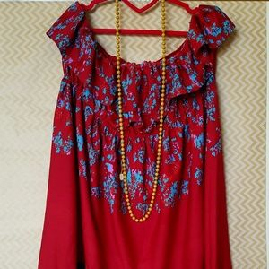 Tropical Red Dress with blue accents.